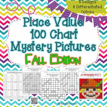 Place Value 100 Chart Mystery Picture - Fall Edition