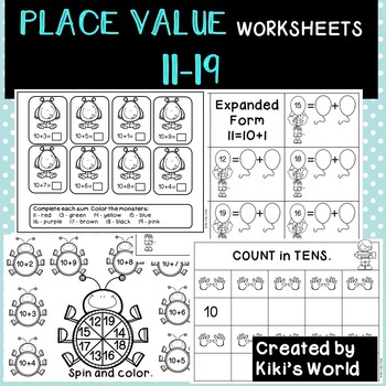 Place Value Worksheets 11 19 Tens And Ones By Kikis World Tpt