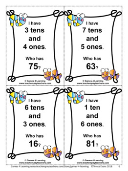 Place Value I Have Who Has: 2 Digit Numbers, Tens and Ones