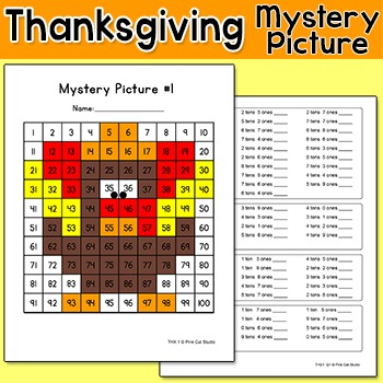 Thanksgiving Math Turkey Mystery Picture: Place Value, Sequencing, Add, Subtract