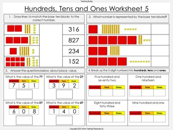 Place Value - Hundreds, Tens and Ones