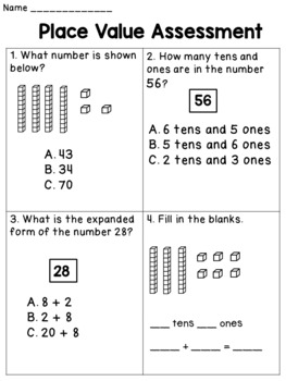 Place Value Worksheets for First Grade TENS AND ONES