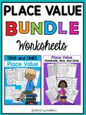 Place Value Worksheets (2nd grade and 1st grade) BUNDLE