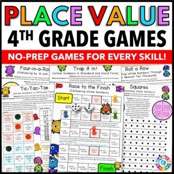 Place Value Games: 4th Grade Math Centers {4.NBT.1, 4.NBT.2, 4.NBT.3}