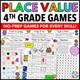4th Grade Place Value Games 4.NBT.1, 4.NBT.2, 4.NBT.3 Distance Learning