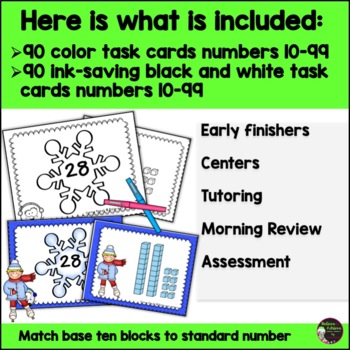 Place Value  2-Digit Match-Up Game: Winter