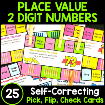 Place Value Activity - 2 Digit Numbers: Place Value Clip Cards