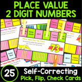 Place Value Center - Pick, Flip Check Cards for 2 Digit Numbers - Tens and Ones