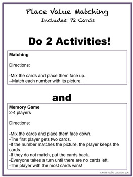 Place Value-Matching game-Math Centers- 2nd Grade 2.NBT.A.1ab