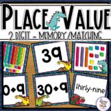 Place Value 2 digit base ten block Dinosaur Themed task cards