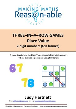 Place Value - 2-digit numbers using ten-frames 3-in-a-row game