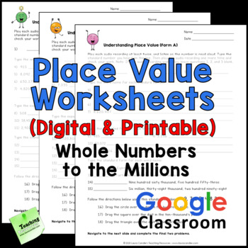 Place Value Worksheets - Whole Numbers to Millions - Printable & Digital