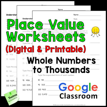 Place Value Worksheets 3rd Grade By Laura Candler Tpt