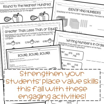 Place Value Activities Autumn Themed