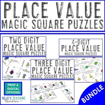 Place Value Magic Square Puzzle Math Center Games Bundle