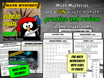 3rd Grade Place Value Review Math Mystery: Convert, Compare, Order, Rounding