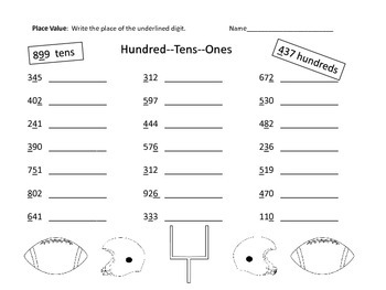 Place Value -- 3 Digit Numbers -Centers, Activities, Worksheets--Football Theme