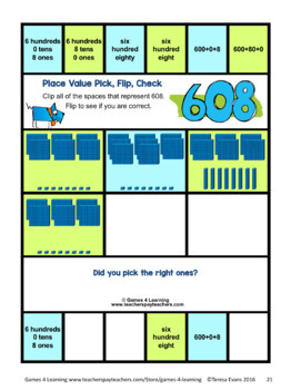 Place Value Activity - 3 Digit Numbers: Place Value Clip Cards