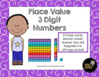 Place Value 3 Digit Numbers Task Cards