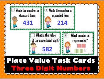 Place Value 3 Digit Task Cards