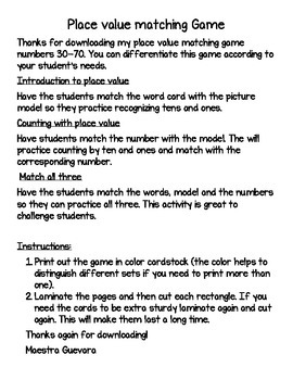 Place Value 30-70 Spanish matching game