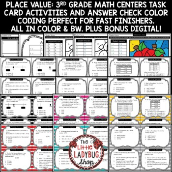 Place Value 3rd Grade Math TEKS 3.2A 3.2B Task Cards