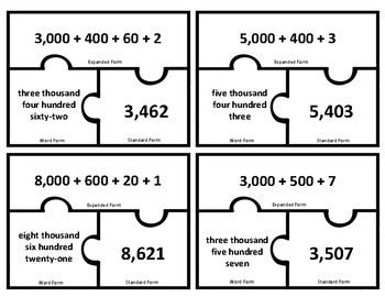 Place Value 4 Digit Number Puzzles