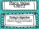 Place Value: 4.NBT.2 4th Grade Expanded Form Powerpoint Le