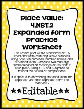 Place Value: 4.NBT.2 Expanded Form Practice Worksheet *EDITABLE*