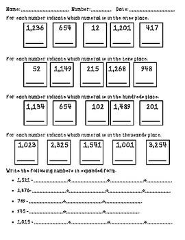 Place Value 4 columns Practice