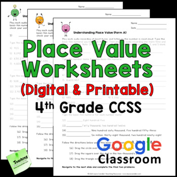 Place Value Worksheets 4th Grade Common Core By Laura Candler Tpt
