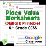 Place Value Worksheets 4th Grade CCSS Printable & Digital