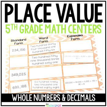 Decimal and Whole Number Place Value Math Centers
