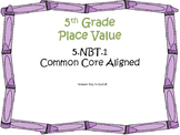 Place Value Task Cards 5th Grade Math Common Core 5.NBT.1