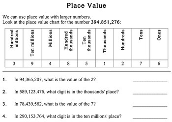 Place Value, 5th grade - worksheets - Individualized Math