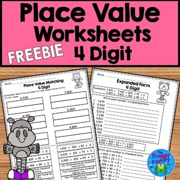 Place Value Worksheet - 4 Digit FREEBIE