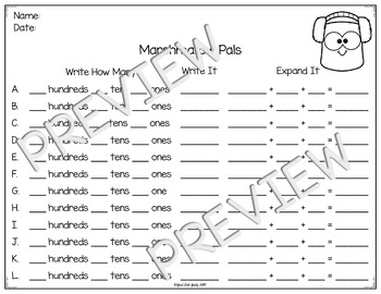 Place Value Activity Hundreds, Tens, and Ones Marshmallow Pals