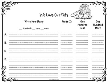 Place Value Activity Hundreds, Tens, and Ones Valentine's Day Pets