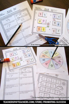 Word Form Standard Form Place Value Cut and Paste Worksheets, Spinner Games