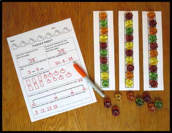 Place Value Activity Tens and Ones Fall Theme Treasure Reports