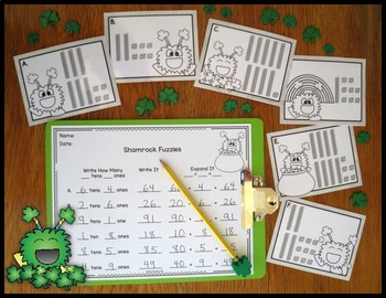 Place Value Activity Tens and Ones Shamrock Fuzzies