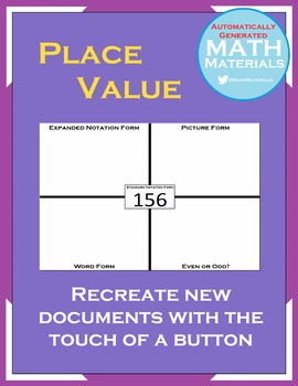 Place Value Activity - Up to 9 Digits - Automatically Generated