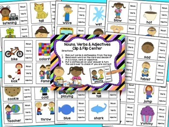 Nouns, Verbs & Adjectives Clip & Flip Language Arts Center