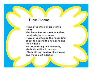 Place Value & Addition Dice Game