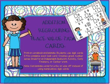 Place Value Addition Regrouping Task Cards