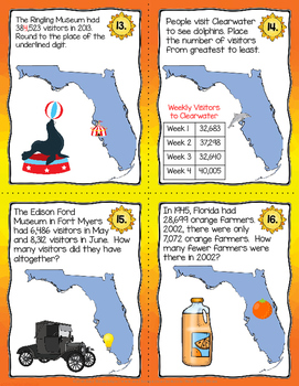 Place Value, Addition, Subtraction 20 Task Cards Integrating Florida's Geography
