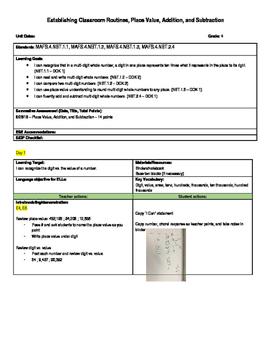 Place Value, Addition, Subtraction Lesson Plan (FSA test-spec)