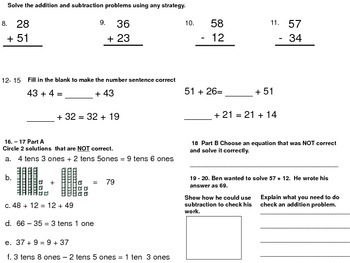 Place Value Addition Subtraction Strategies Assessment NBT.B5