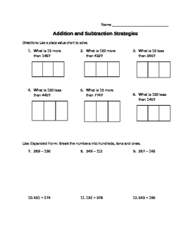 Place Value Addition and Subtraction