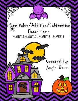 Halloween Place Value, Addition, and Subtraction Board Game
